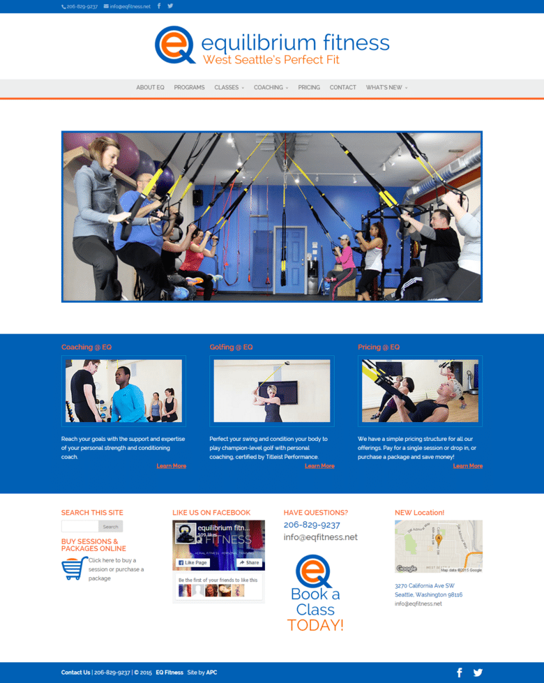 EQ Fitness Homepage